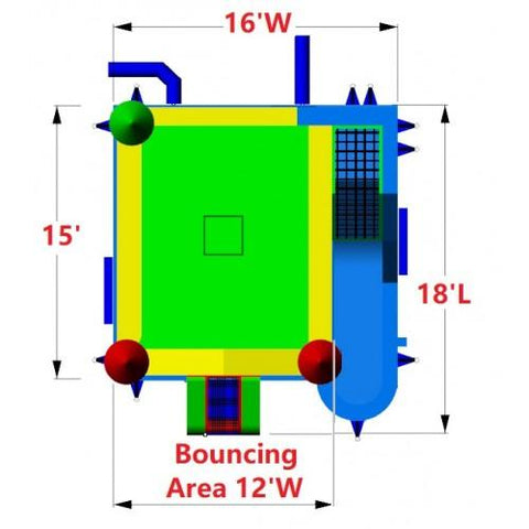 size and dimensions of the commercial bounce house combo wet/dry