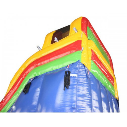 18'H Double Dip Inflatable Slide Wet and Dry - Rainbow