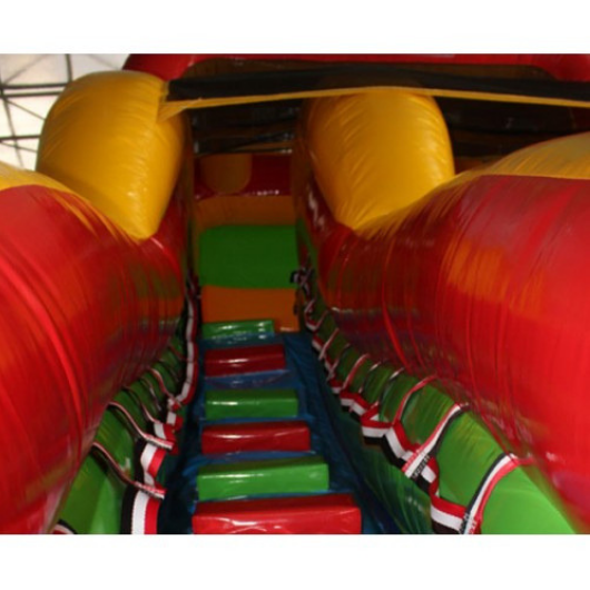 18'H Double Dip Inflatable Slide Wet and Dry - Rainbow - climbing stairs