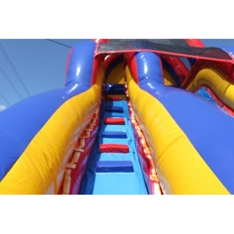 18'H Double Dip Inflatable Slide Wet and Dry - RBY - Stairs