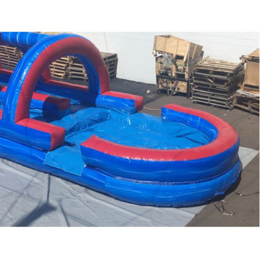 Dual Lane Tsunami Inflatable Slip N Slide with Pool