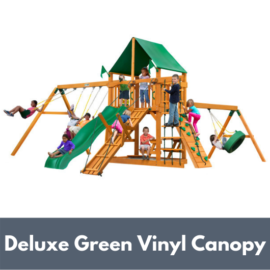 Gorilla Frontier Wooden Swing Set with Deluxe Green Vinyl Canopy