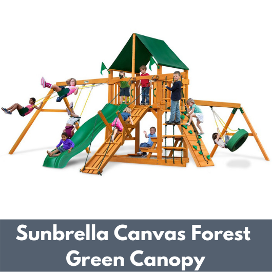 Gorilla Frontier Wooden Swing Set with Sunbrella Canvas Forest Green Canopy