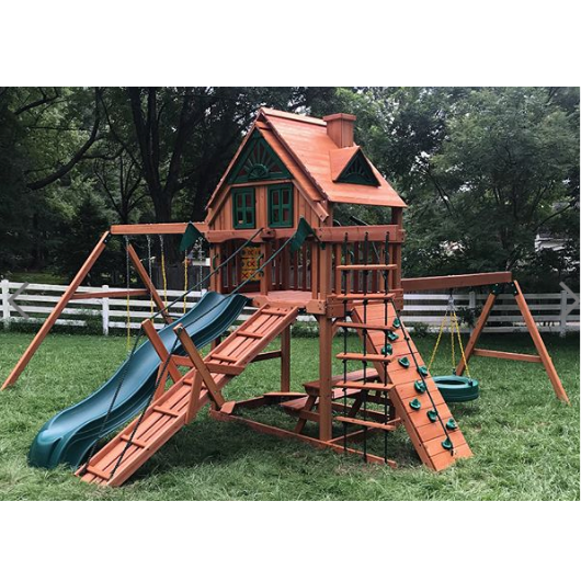 Gorilla Frontier Wooden Swing Set outside in yard