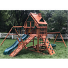 Image of Gorilla Frontier Wooden Swing Set outside in yard