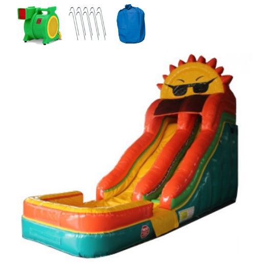 18'H Sunny Inflatable Slide Wet n Dry - The Outdoor Play Store