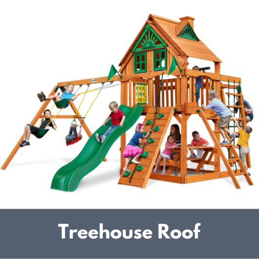 Gorilla Playsets Navigator Wooden Swing Set with Wood Treehouse Roof
