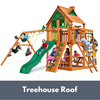 Image of Gorilla Playsets Navigator Wooden Swing Set with Wood Treehouse Roof