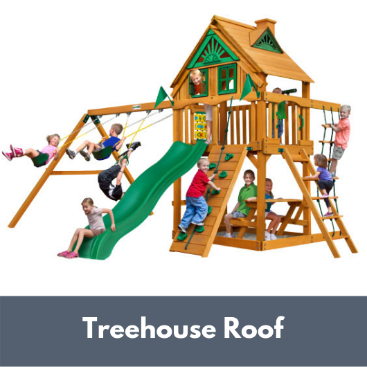 Gorilla Chateau Wooden Swing Set with Treehouse Roof