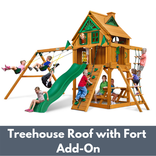Gorilla Chateau Wooden Playset with Treehouse Roof and Fort Add On