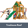 Image of Gorilla Chateau Wooden Swing Set with Treehouse Roof