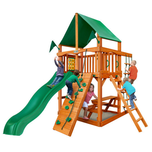 Gorilla Chateau tower playset with deluxe green vinyl canopy