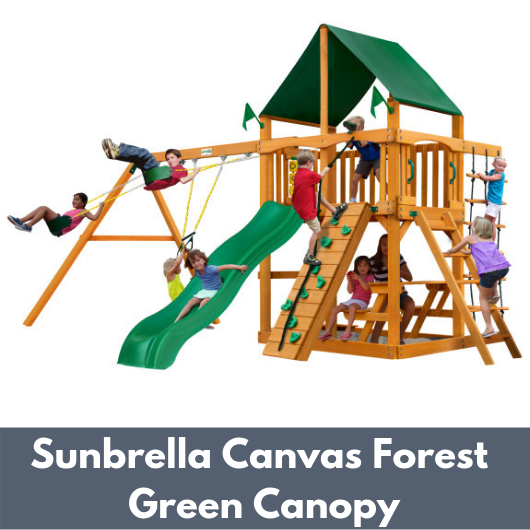 Gorilla Chateau Wooden Playset with Sunbrella Canvas Forest Green Canopy