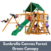Image of Gorilla Chateau Wooden Playset with Sunbrella Canvas Forest Green Canopy