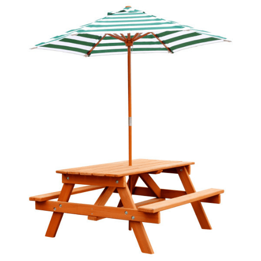 Gorilla Wooden Picnic Table with Umbrella
