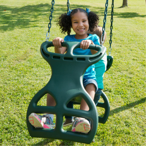 girl on Dual Ride Glider Swing by Gorilla Playsets