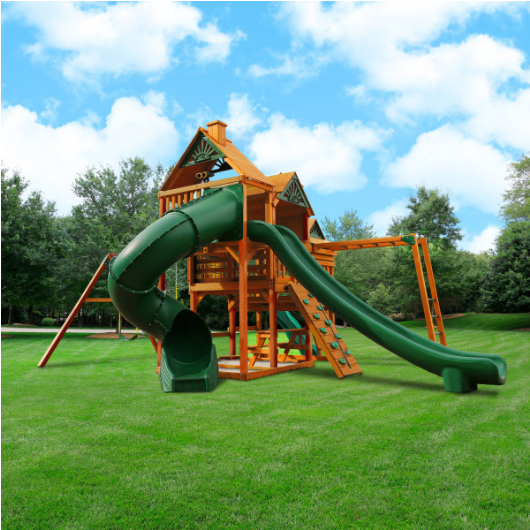 Gorilla Playsets Empire Wooden Swing Set with Wood Roof outside