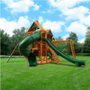 Image of Gorilla Playsets Empire Wooden Swing Set with Wood Roof outside