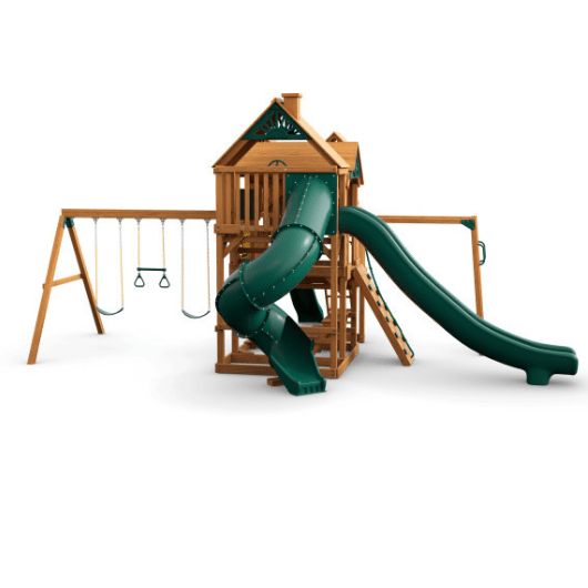 Gorilla Playsets Empire Wooden Swing Set with Wood Roof back side