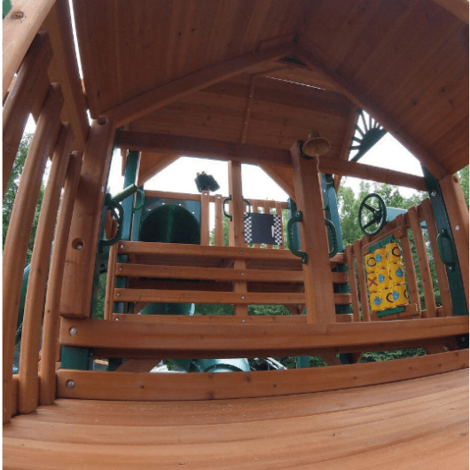 Gorilla swing set inside play fort