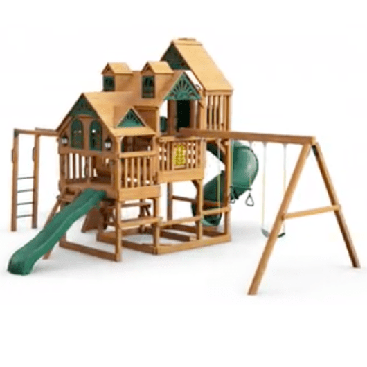 Gorilla Playsets Empire Wooden Swing Set with Wood Roof angle view