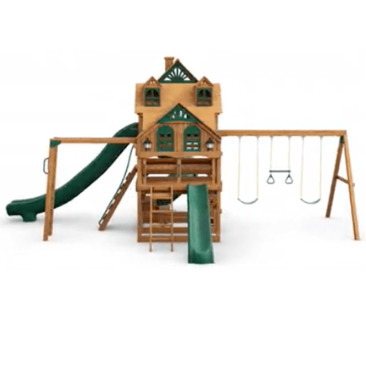 Gorilla Playsets Empire Wooden Swing Set with Wood Roof front view