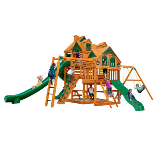 Gorilla Playsets Empire Wooden Swing Set with Wood Roof