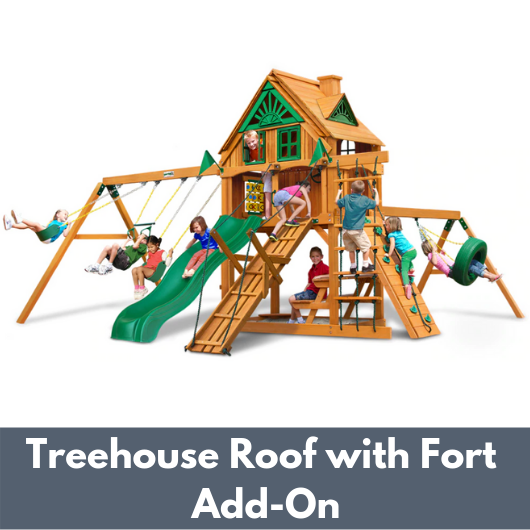 Gorilla Frontier Wooden Swing Set with Treehouse Roof with Fort Add-On