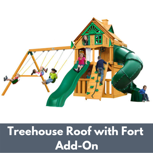 Gorilla Mountaineer Clubhouse Swing Set with Treehouse Roof and Fort Add On