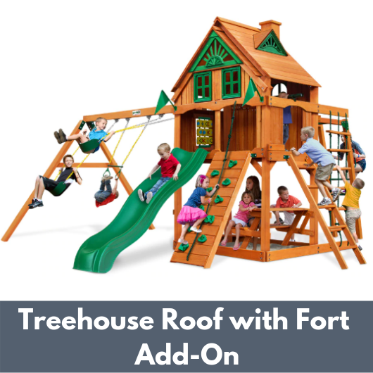 Gorilla Playsets Navigator Wooden Swing Set with Wood Treehouse Roof and Fort Add-On