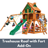 Image of Gorilla Playsets Navigator Wooden Swing Set with Wood Treehouse Roof and Fort Add-On