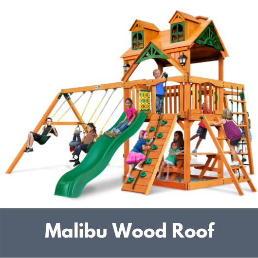 Gorilla Playsets Navigator Wooden Swing Set with Malibu Wood Roof