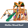 Image of Gorilla Playsets Navigator Wooden Swing Set with Malibu Wood Roof