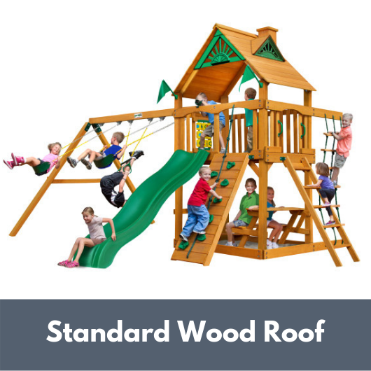 Gorilla Playsets Chateau Wooden Swing Set with Wood Roof