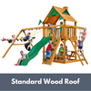 Image of Gorilla Playsets Chateau Wooden Swing Set with Wood Roof