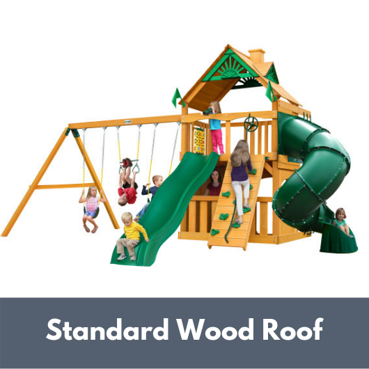 Gorilla Playsets Mountaineer Clubhouse Swing Set with Wood Roof