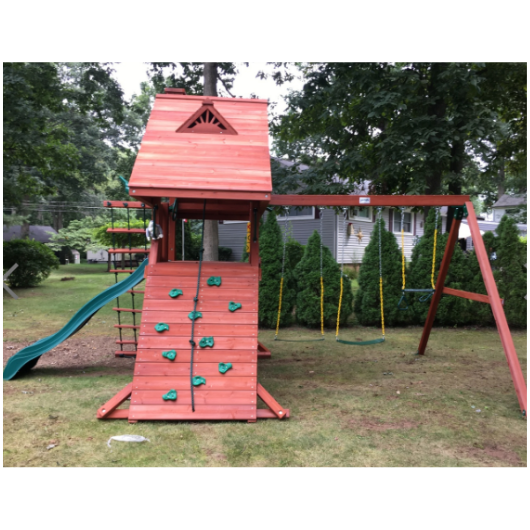 Gorilla Sun Palace Wooden Swing Set outside