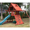 Image of Gorilla Sun Palace Wooden Swing Set outside on grass