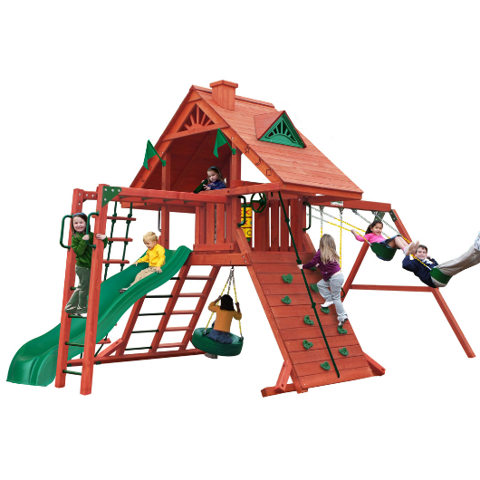 Gorilla Sun Palace Wooden Swing Set with Monkey Bars