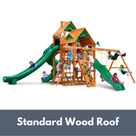 Gorilla Playsets Great Skye II Wooden Swing Set with Standard Wood Roof