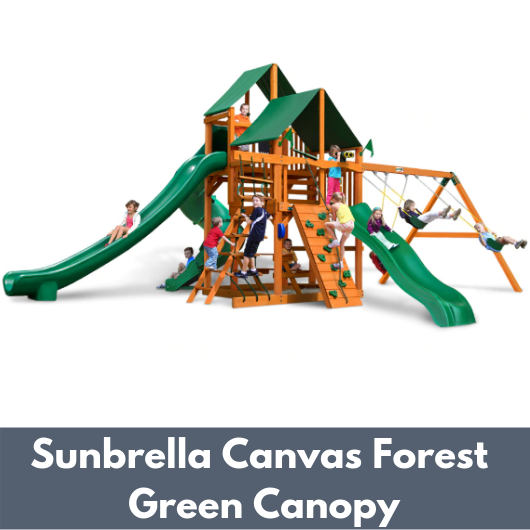 Gorilla Playsets Great Skye II Wooden Swing Set with Sunbrella Canvas Forest Green Canopy