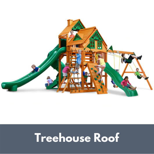 Gorilla Playsets Great Skye II Wooden Swing Set with Treehouse Roof