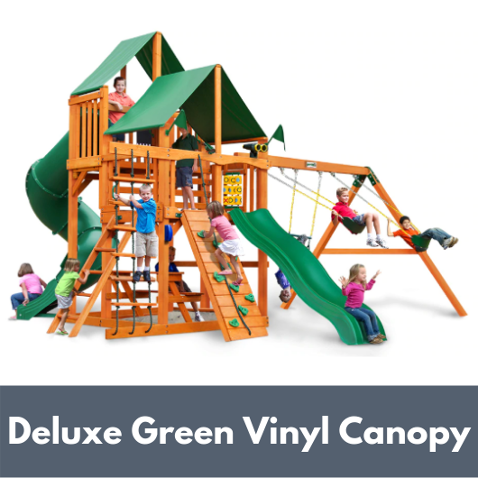 Gorilla Playsets Great Skye I Wooden Swing Set with Deluxe Green Vinyl Canopy