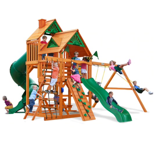 Gorilla Playsets Great Skye I Wooden Swing Set with Standard Wood Roof