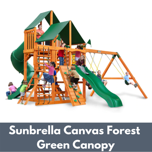 Gorilla Playsets Great Skye I Wooden Swing Set with Sunbrella Canvas Forest Green Canopy