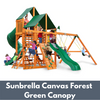 Image of Gorilla Playsets Great Skye I Wooden Swing Set with Sunbrella Canvas Forest Green Canopy