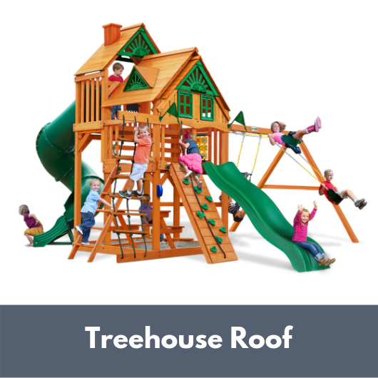 Gorilla Playsets Great Skye I Wooden Swing Set with Treehouse Roof