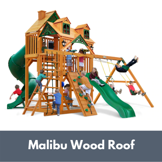Gorilla Playsets Great Skye I Wooden Swing Set with Malibu Wood Roof