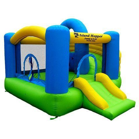 Island Hopper Curved Double Slide Bounce House