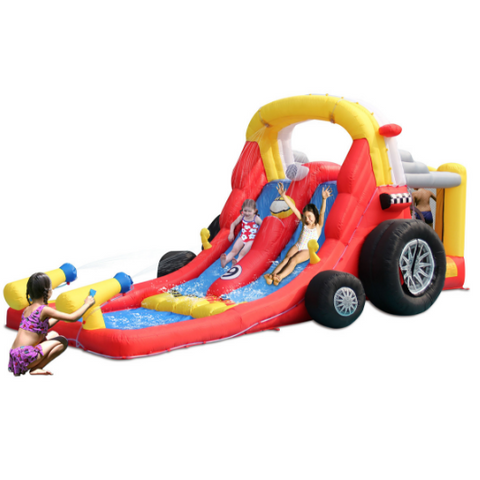 KidWise Formula One Bounce House with Double Slides